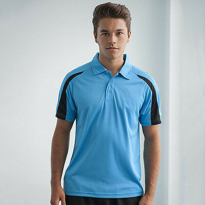 Awdis Contrast Cool Polo Shirt Jc043 - Mens Training Wear Fitness Gym Workout