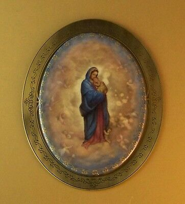 OUR HEAVENLY MOTHER Blessed Virgin Plate Porcelain Metal Frame Catholic 3365A