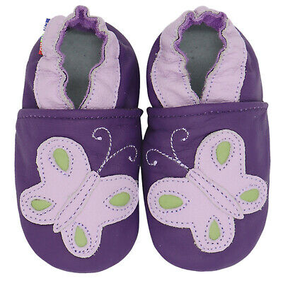 carozoo butterfly purple 6-12m soft leather baby girl shoes