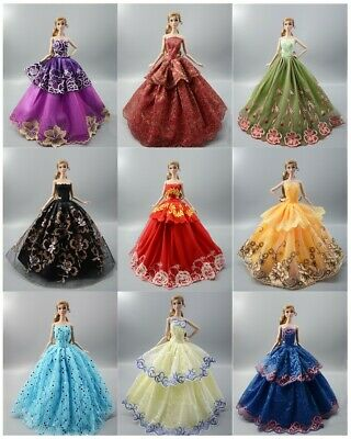 Lot 15 items= 5 Princes Dress/Wedding Clothes/Gown+10 shoes For Barbie Doll S180