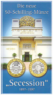 1997 50 Schilling Austria UNC Coin in Folder - 1897 - 1997 Secession
