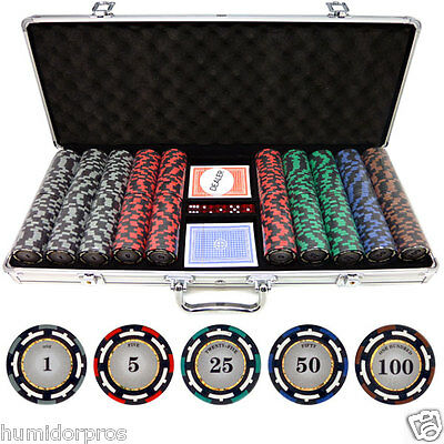 Pro Style 13.5g 500 piece Z-Pro Clay Poker Chips w/ Aluminum Case Cards Dice NEW