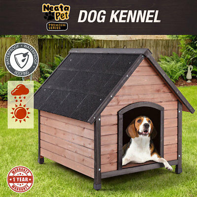 NEW! NEATAPET XL Dog Kennel House Timber Log Spacious Cabin Wood Indoor Outdoor