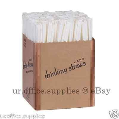 """500 Dixie STRAWS Paper Wrapped Jumbo Plastic 7 3/4"""" Translucent Clear Drink Cup"""