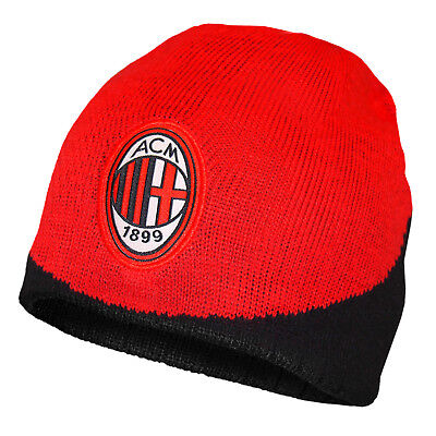 AC Milan Official Football Gift Knitted Beanie Hat Black Red