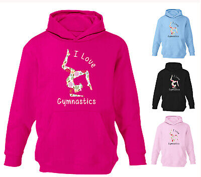 Girls I Love Gymnastics Hoodie Floral Print Kids Dance Childrens Hoody Gift