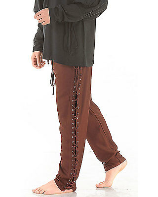 Lace Up Pants Medieval Renaissance Pirate S/M-XXL Rayon Brown Red Green C1122
