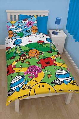 Mr Men Little Miss Village Single Duvet Quilt Cover Kids Reversible Bedding Set
