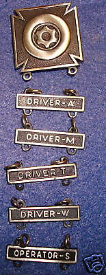 ARMY DRIVER BADGE SET,DRIVER-A,T,W,M,AND OPERATOR-S