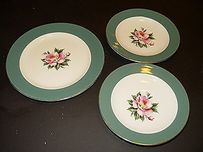 2 Saucers, 1 Bread Plate, Homer Laughlin Empire Green , Rose Cottage Century Svc