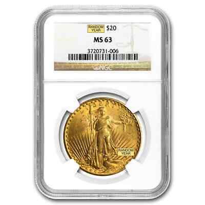$20 Saint-Gaudens Double Eagle Gold Coin - Random Year - MS-63 NGC - SKU #123