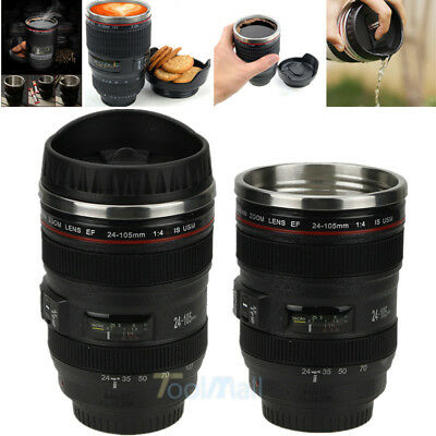 Hot Stainless 24-105mm Lens Thermos Camera Travel Coffee Tea Mug Cup Funny Gifts