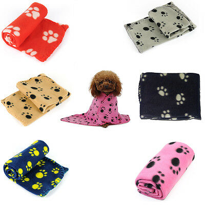 New Soft Cute Great Paw Print Dog Cat Pet Blanket Puppy Kitten Bed Mat Cover US