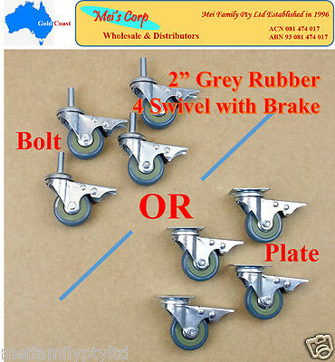 4x2'' Grey Rubber Castor(Choice of Bolt or Plate),4 Swivel Casters with Brake