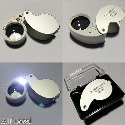 40x Magnifier With LED Light Jewelry Metal Magnifying Glass Loupe EMAGN2540