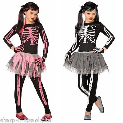 Girls 4 Piece Pink or White Skeleton Tutu Halloween Fancy Dress Costume Outfit