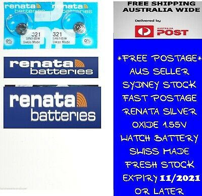 2 PCS Renata SR616SW 321 1.55V Silver Oxide Battery for Watch Swiss Made
