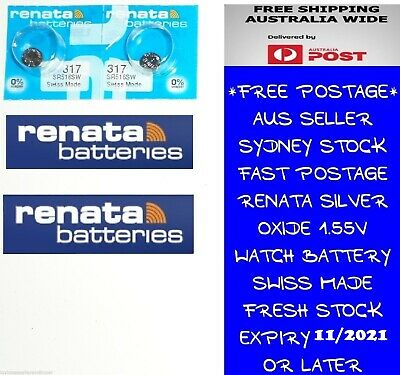 2 PCS Renata SR516SW 317 1.55V Silver Oxide Battery for Watch Swiss Made