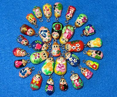 Charms Beads Hand made ASSORTED lot 10 Babushka  RUSSIAN DOLL Bracelet earrings