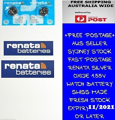 2 PCS Renata SR920SW 371 1.55V Silver Oxide Battery for Watch Swiss Made