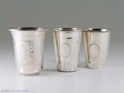 Vintage 3 Silver Judaica Tumblers / Cups - Poland