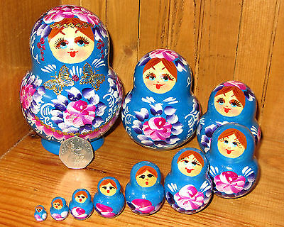 Russian Wood nesting doll 10 Piece BLUE MATRYOSHKA Nikitina signed