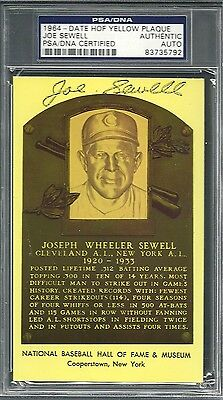 Signed Joe Sewell HOF Plaque PSA