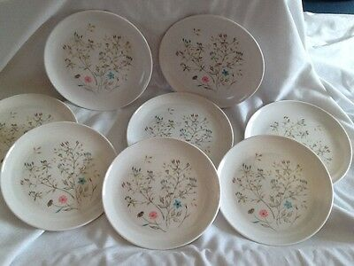 """VINTAGE GENUINE MELMAC 7"""" FLORAL PLATES OVATION BY WESTINGHOUSE pm842 lot of 8"""
