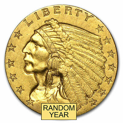 $2.50 Indian Quarter Eagle Gold Coin - Random Year AU - SKU #4025