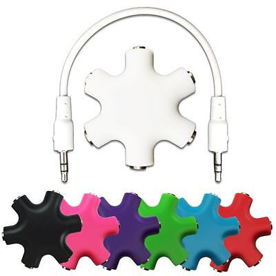 6 Way 3.5mm Headphone Headset Splitter HUB & AUX Cable Auxiliary Adapter MP3