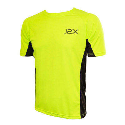 J2X Fitness Hi Viz Running Cycling High Visibility Fluro Yellow T-Shirt Top