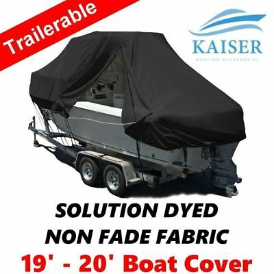 New Design with Zipper 600D 5.8-6.1m 19-20ft T-Top Jumbo Boat Cover Black