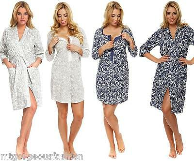 Maternity Pregnancy Set Nightdress and Dressing Gown 3/4 Sleeves 8 10 12 14