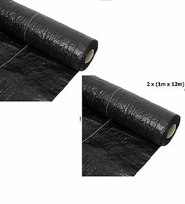 2 x (1Mx12M) Woven Heavy Duty Weed Control Membrane Fabric Ground Cover 100gms