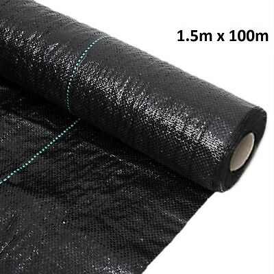 1.5M x 100M Woven Heavy Duty Weed Control Membrane Fabric Ground Cover Mulch100g