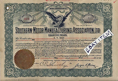 1919 STOCK CERTIFICATE Southern Motor Manufacturing HOUSTON TEXAS RANGER AUTO