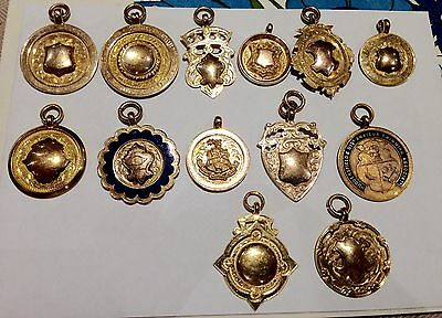 13 x 1920s - 30s Solid Gold Swimming Championship Medals And 8 Silver and Gold.