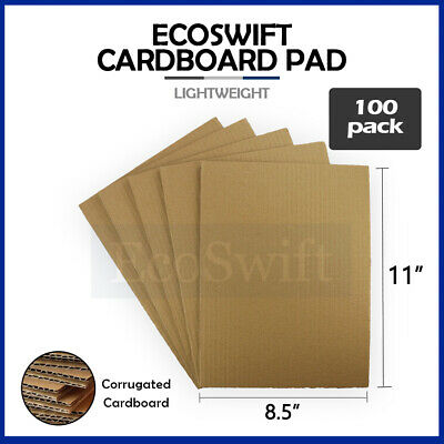 "100 8.5x11 Corrugated Cardboard Pads Inserts Sheet 32 ECT 1/8"" Thick 8 1/2 x 11"