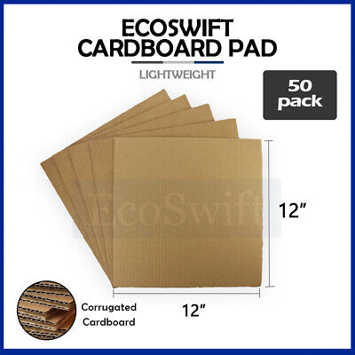 "50 12x12 Corrugated Cardboard Pads Inserts Sheet 32 ECT 1/8"" Thick 12"" x 12"""