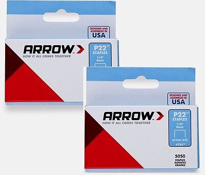 "2* Boxes of 5000 #224 ARROW STAPLES 1/4"" 6mm Plier Type P-22 Stapler Office NEW!"
