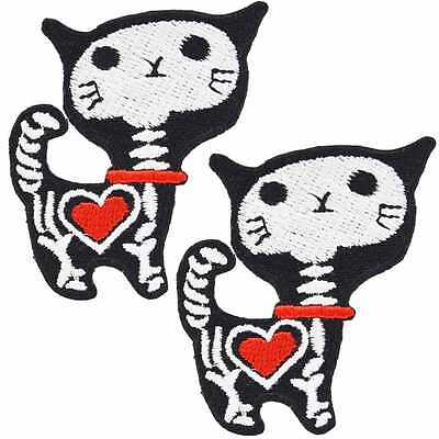 Skeleton Cat Iron On Patches (Pack of 2) Cute Rockabilly Kitsch Kawaii Horror