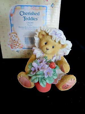 Cherished Teddies VIOLET Blessings Bloom When You Are Near 156280 - MINT in Box