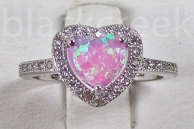 925 Sterling Silver ~ Pink Opal ~ Micro Pave Ring Size 5/6/7/8/9/10