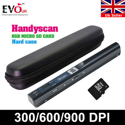Iscan Handheld Portable A4 Photo Scanner 900DPI Document Handyscan+8GB+Hard Case