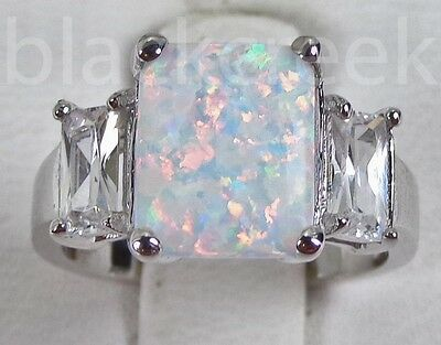 Lab White Fire Opal ~Emerald Cut CZ Sterling Silver Ring~ Choose Size
