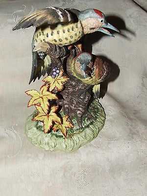 Vintage 1960s Yellowhammer Woodpeckers Figurine Bisque Porcelain KIMCO Japan