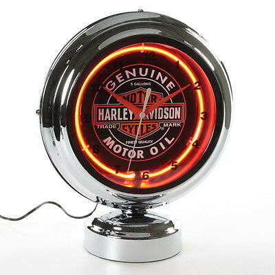 Harley-Davidson Motor Oil Tabletop Neon Clock Double Sided Backlit Neon
