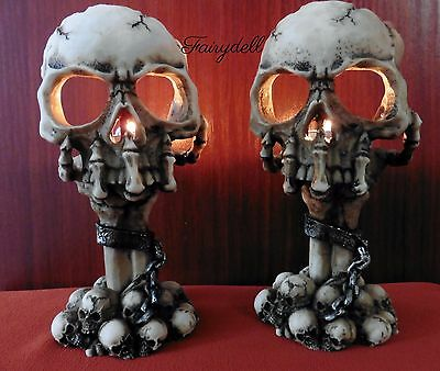 Gruesome Skull In Chains ~ Gothic  Tea Light Candle Holder ~  Skeleton