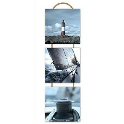 3x Set Of Wooden Wall Art Hanging Drawing Pictures Nautical Theme