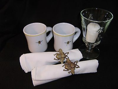 2 Bee Mugs by Mary Lake Thompson, 2 Bee Brass Napkin Rings  & a Bee Goblet